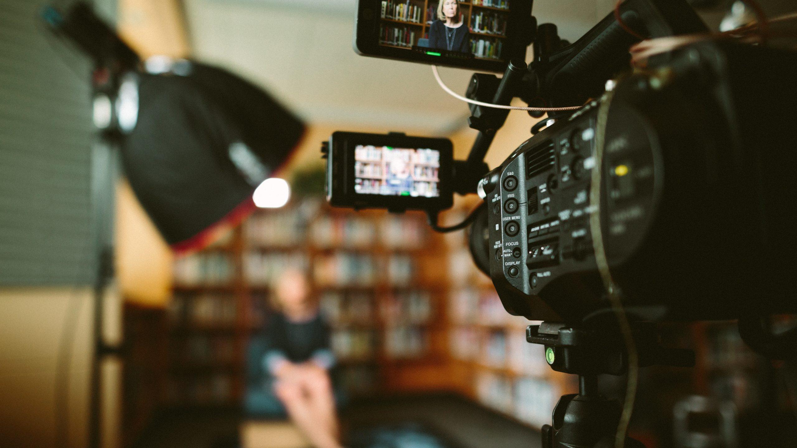 camera recording interview