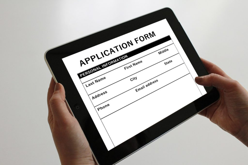 online application form on a tablet