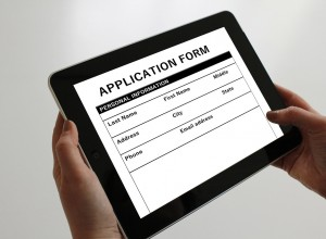 online application form on a tablet